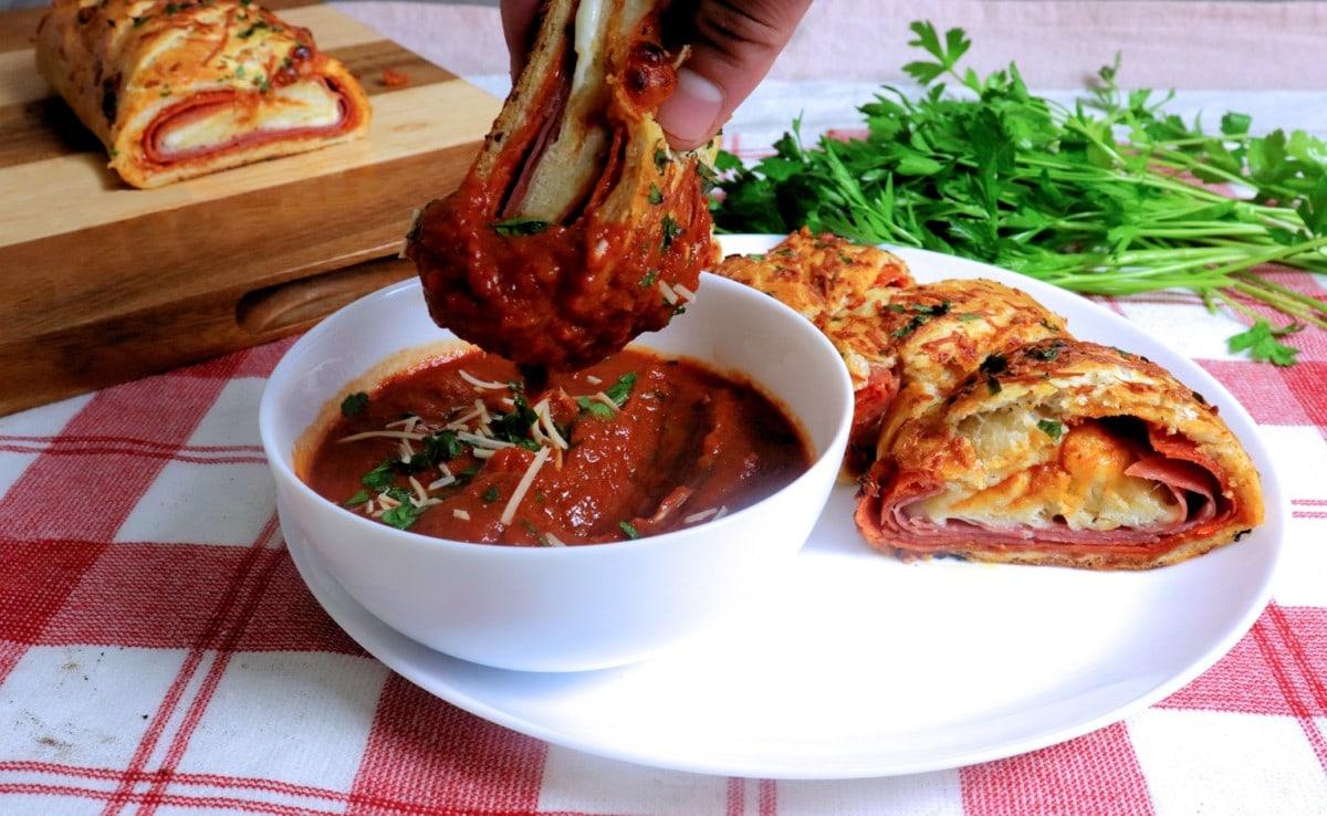 Stromboli Dipped in Sauce