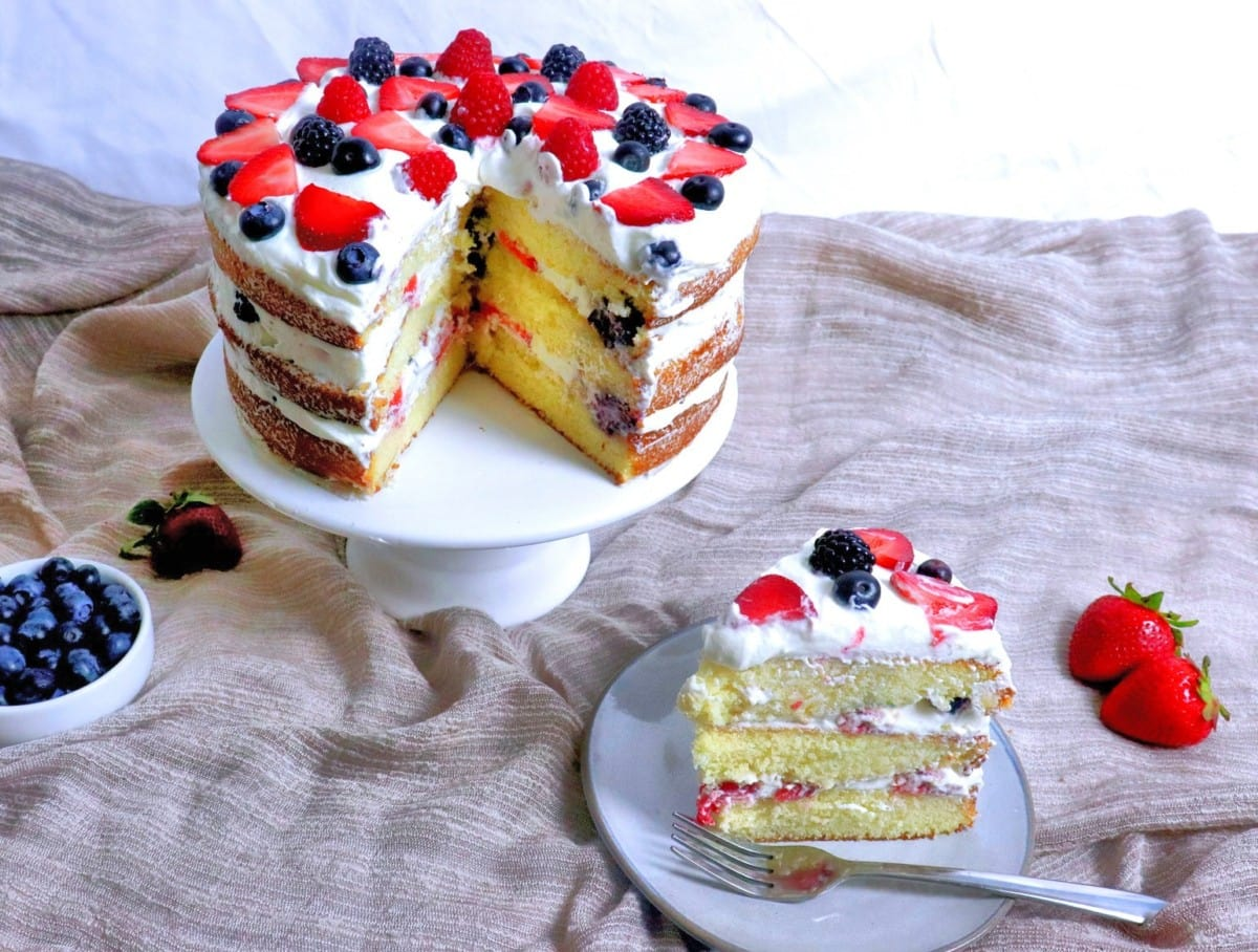 Slice of Berry Cream Cake