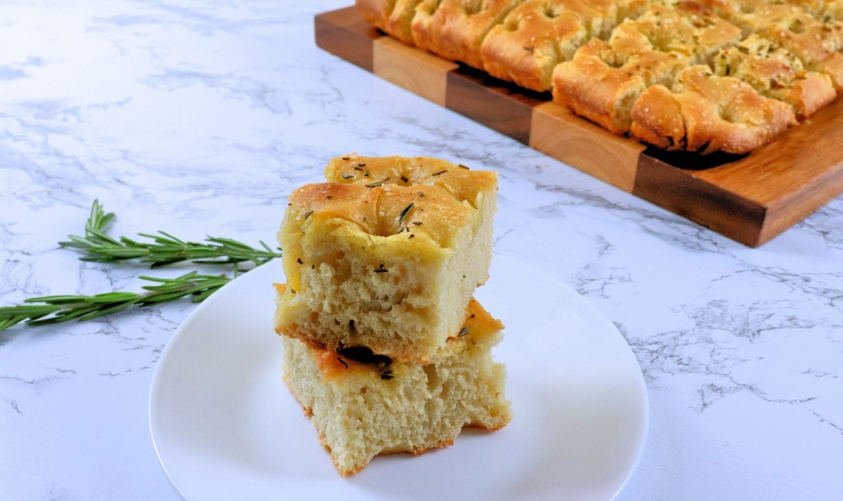 Rosemary Focaccia Bread Stacked