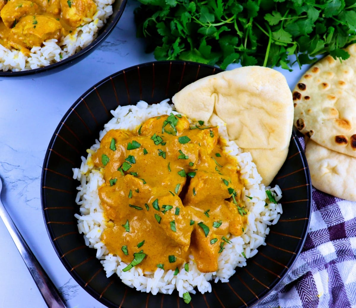 Chicken Curry with Basmati Rice and Naan Bread