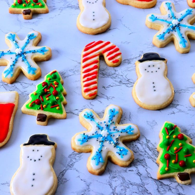 Decorated Christmas cut out sugar cookies