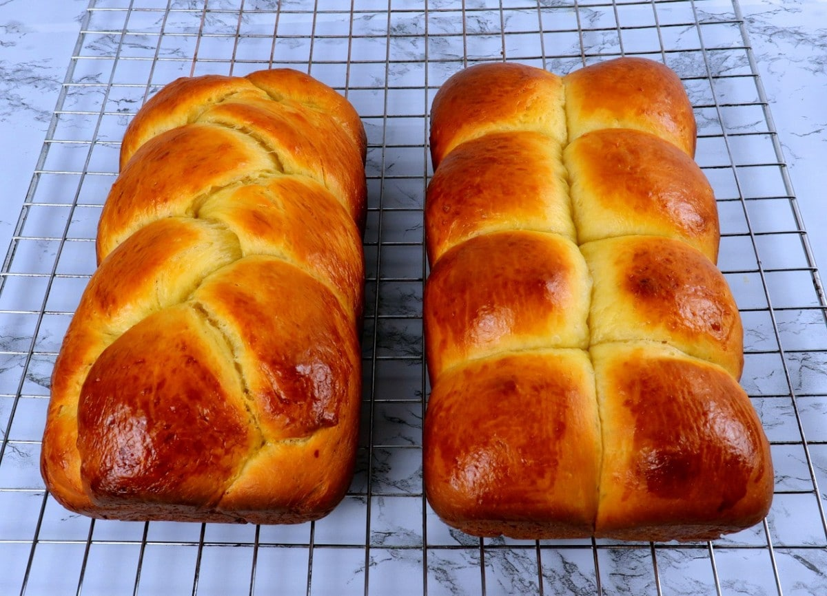 Baked Brioche on Cooling Rack