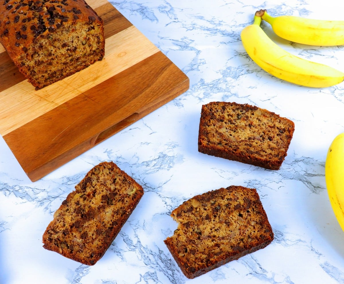 Bite out of Banana Bread