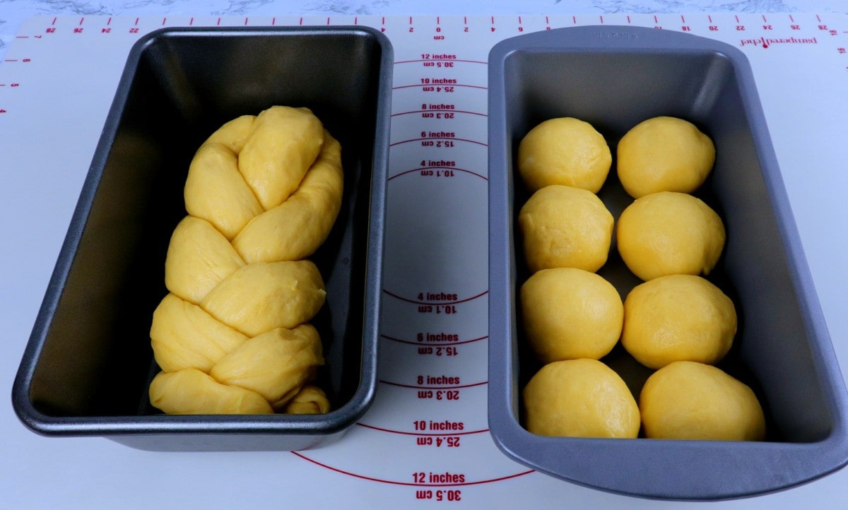 Braided Dough and Dough Balls in Pan