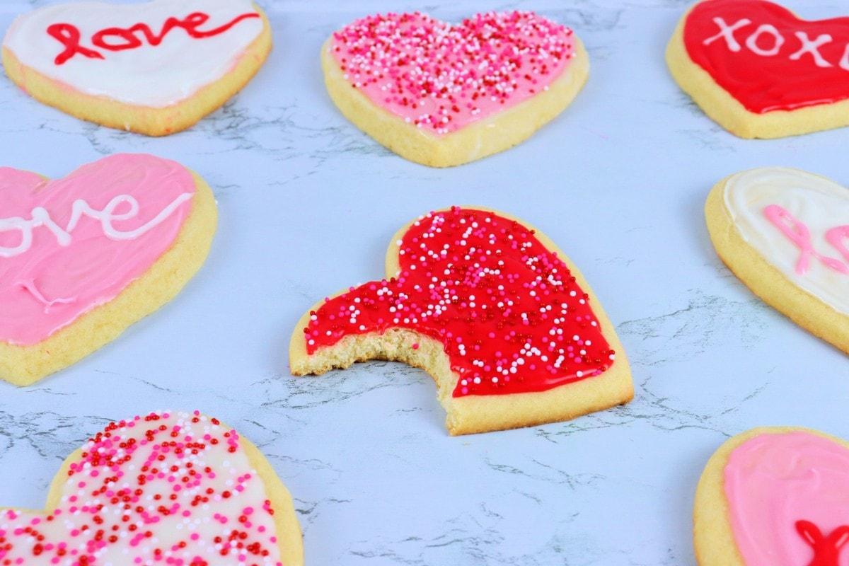 Valentine's sugar cookies with bite