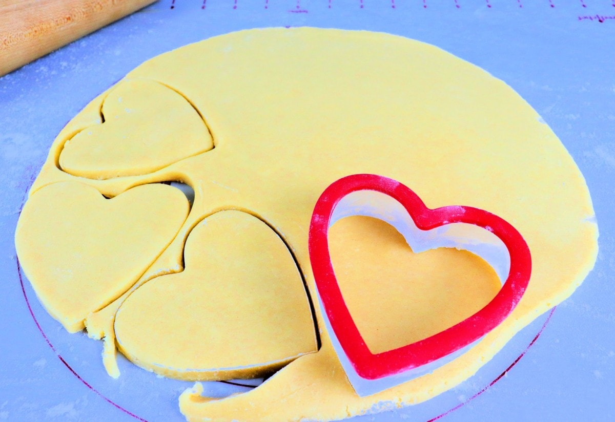 Cutting out Heart-shapes for Valentine's day cookies