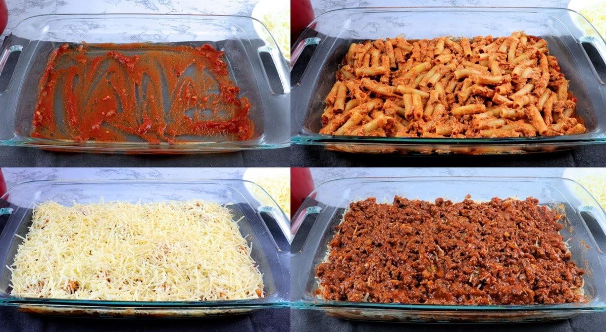 Layering pasta steps