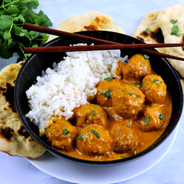 Indian Meatballs with Curry Sauce, Rice, and Naan