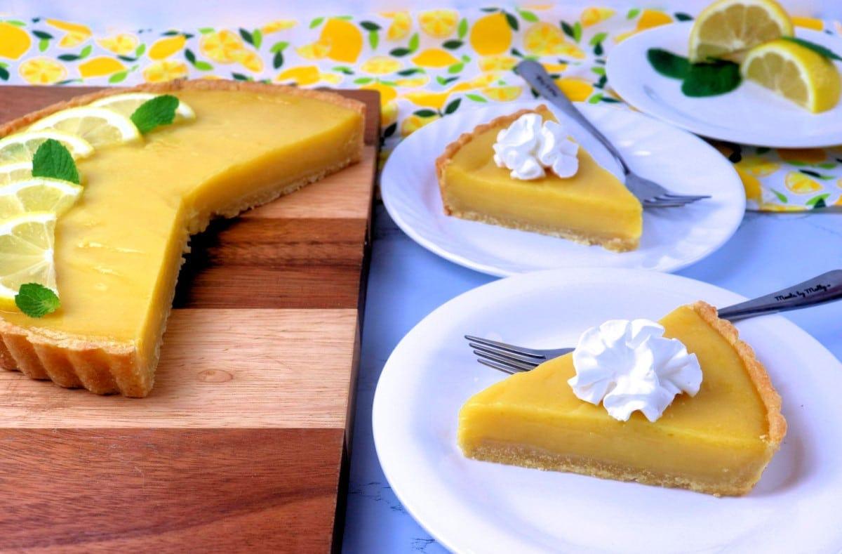 Lemon Tart Slice with Whipped Cream