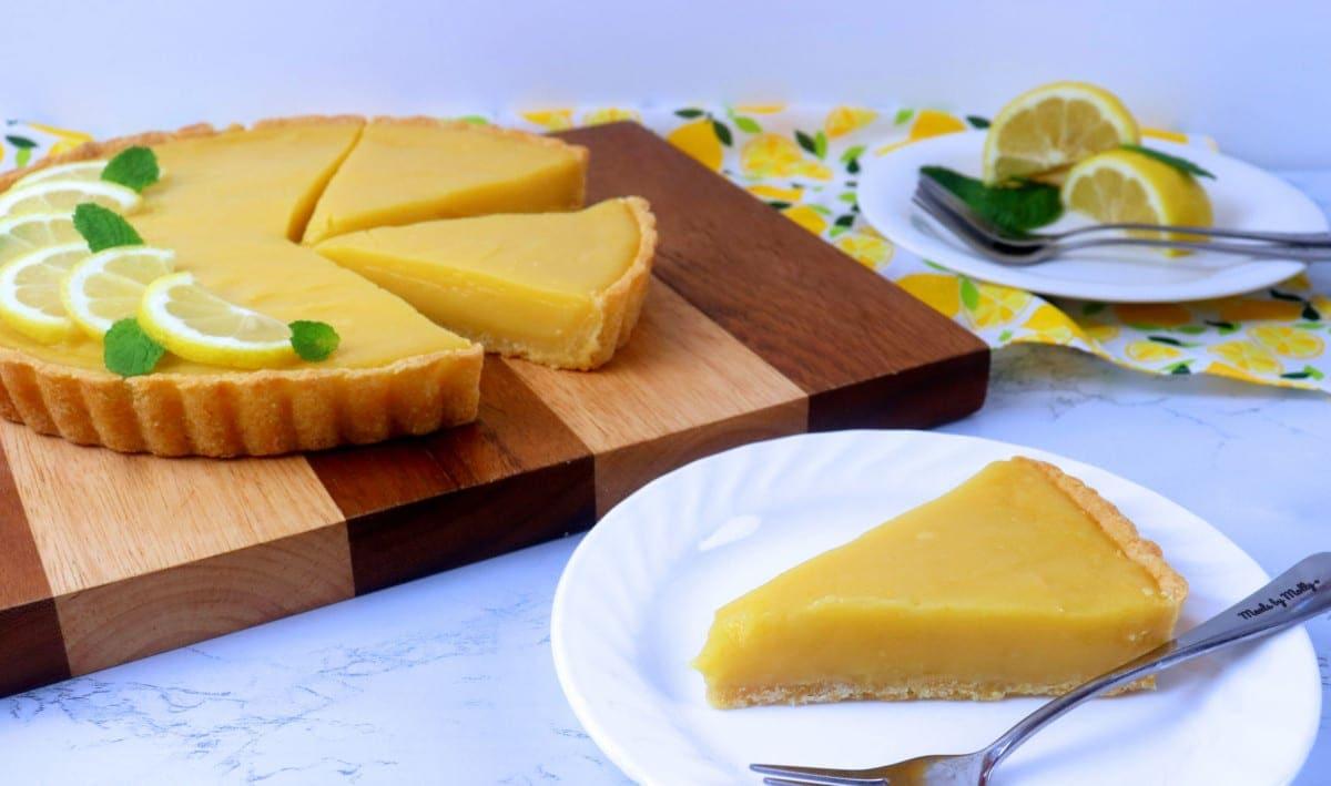 Slice of Lemon Tart on a plate