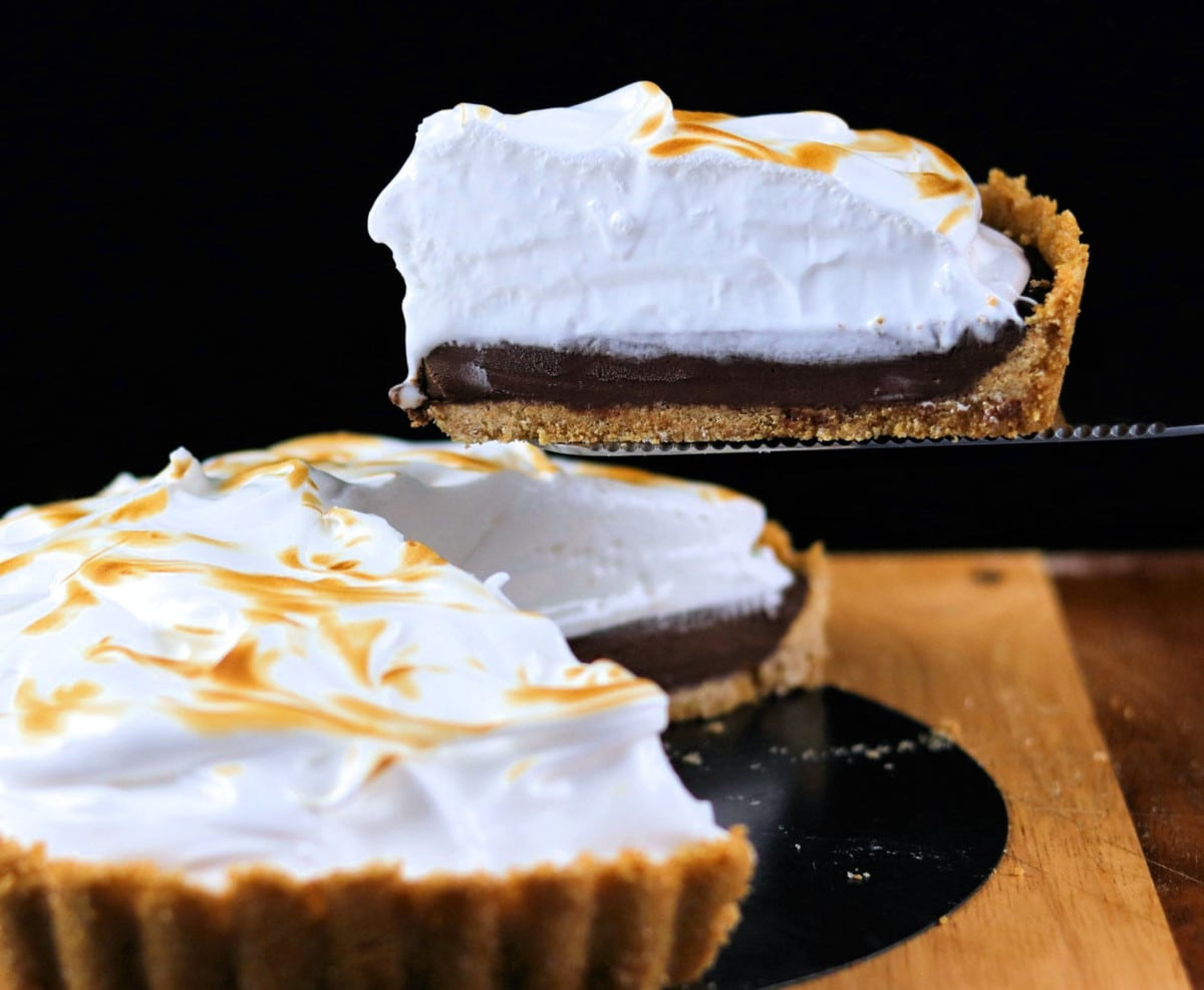 S'mores Pie on Wood Cutting Board
