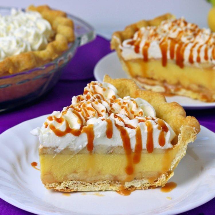 Slice of Banana Cream Pie with Caramel Sauce