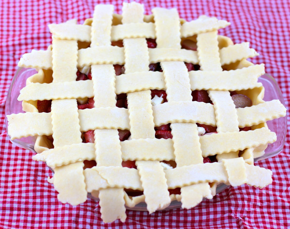 Strawberry Rhubarb Pie with Lattice Topping