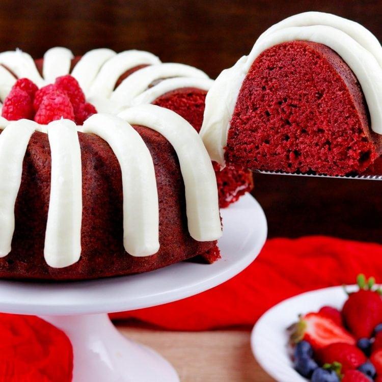 Red Velvet Bundt Cake with Cream Cheese Frosting